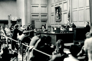 Thomas H. Stanton arguing before Justice Thurgood Marshall